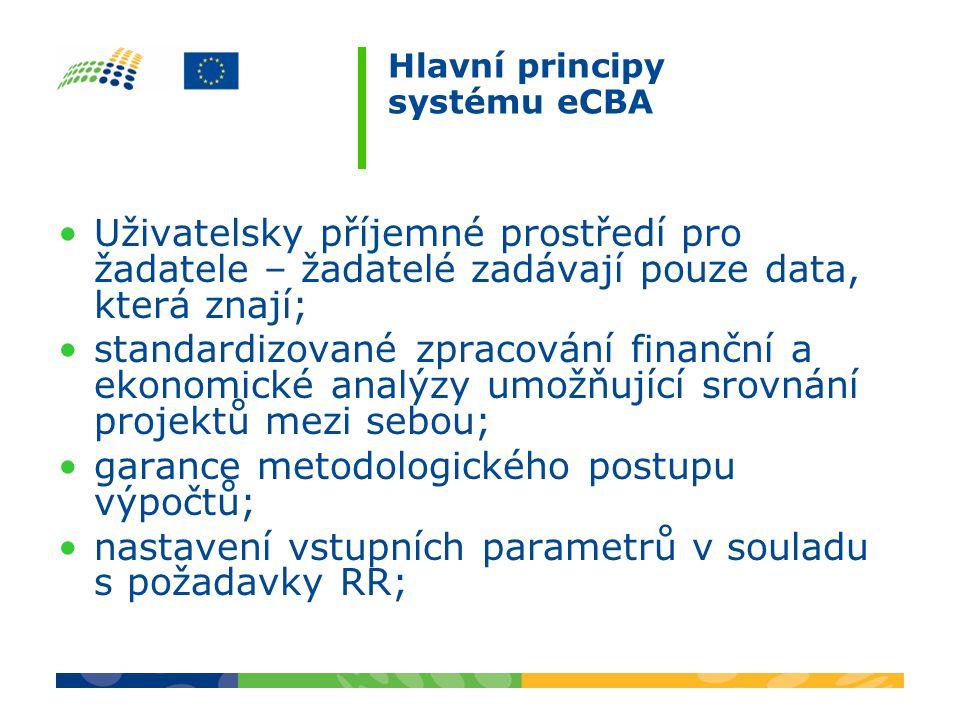 Hlavní principy systému eCBA Uživatelsky příjemné prostředí pro žadatele – žadatelé zadávají pouze data, která znají; standardizované zpracování finanční a ekonomické analýzy umožňující srovnání projektů mezi sebou; garance metodologického postupu výpočtů; nastavení vstupních parametrů v souladu s požadavky RR;