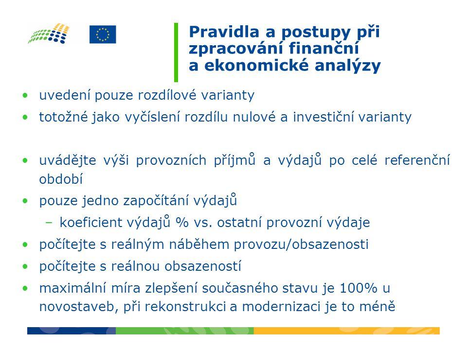 Pravidla a postupy při zpracování finanční a ekonomické analýzy uvedení pouze rozdílové varianty totožné jako vyčíslení rozdílu nulové a investiční va