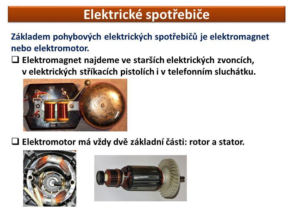 Elektrické spotřebiče Základem pohybových elektrických spotřebičů je elektromagnet nebo elektromotor.