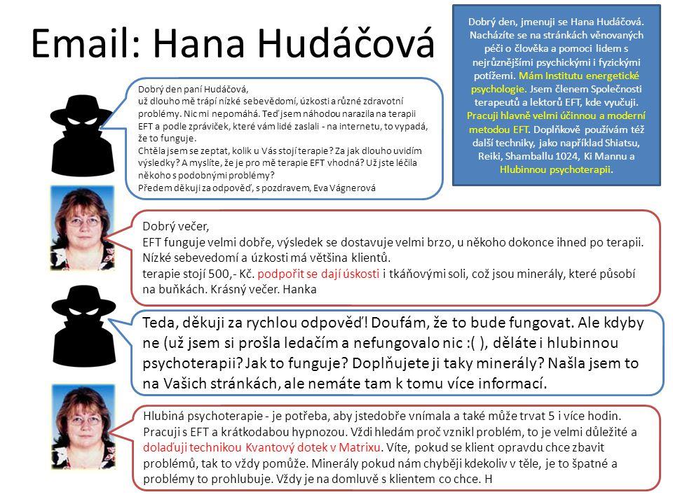 Email: Hana Hudáčová Dobrý den, jmenuji se Hana Hudáčová. Nacházíte se na stránkách věnovaných péči o člověka a pomoci lidem s nejrůznějšími psychický