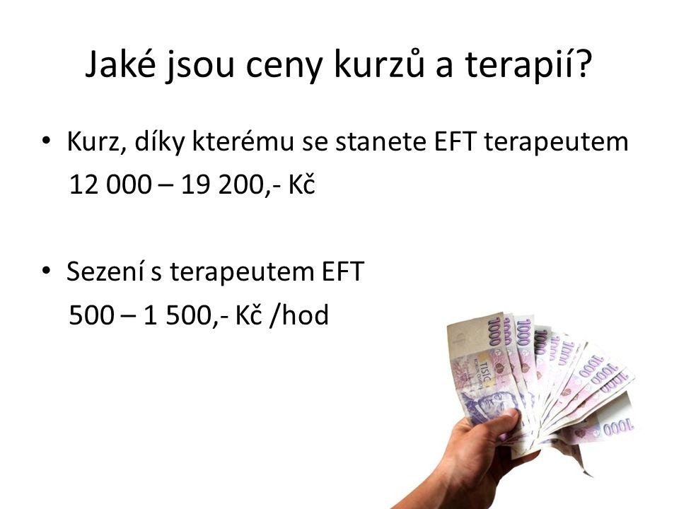Jaké jsou ceny kurzů a terapií? Kurz, díky kterému se stanete EFT terapeutem 12 000 – 19 200,- Kč Sezení s terapeutem EFT 500 – 1 500,- Kč /hod
