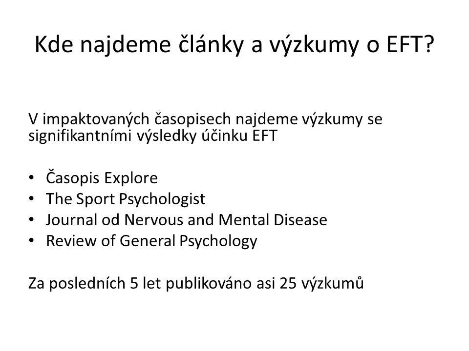 Kde najdeme články a výzkumy o EFT? V impaktovaných časopisech najdeme výzkumy se signifikantními výsledky účinku EFT Časopis Explore The Sport Psycho