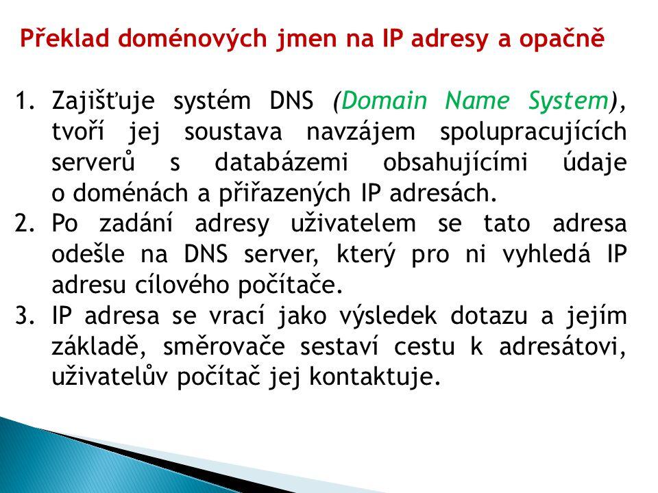1.Zajišťuje systém DNS (Domain Name System), tvoří jej soustava navzájem spolupracujících serverů s databázemi obsahujícími údaje o doménách a přiřazených IP adresách.