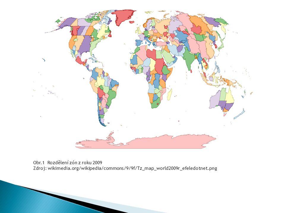 Obr.1 Rozdělení zón z roku 2009 Zdroj: wikimedia.org/wikipedia/commons/9/9f/Tz_map_world2009r_efeledotnet.png