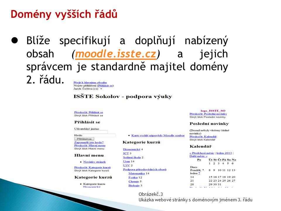Domény vyšších řádů Blíže specifikují a doplňují nabízený obsah (moodle.isste.cz) a jejich správcem je standardně majitel domény 2. řádu.moodle.isste.