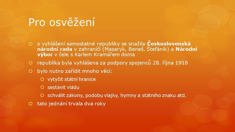 Pro osvěžení  o vyhlášení samostatné republiky se snažila Československá národní rada v zahraničí (Masaryk, Beneš, Štefánik) a Národní výbor v čele s