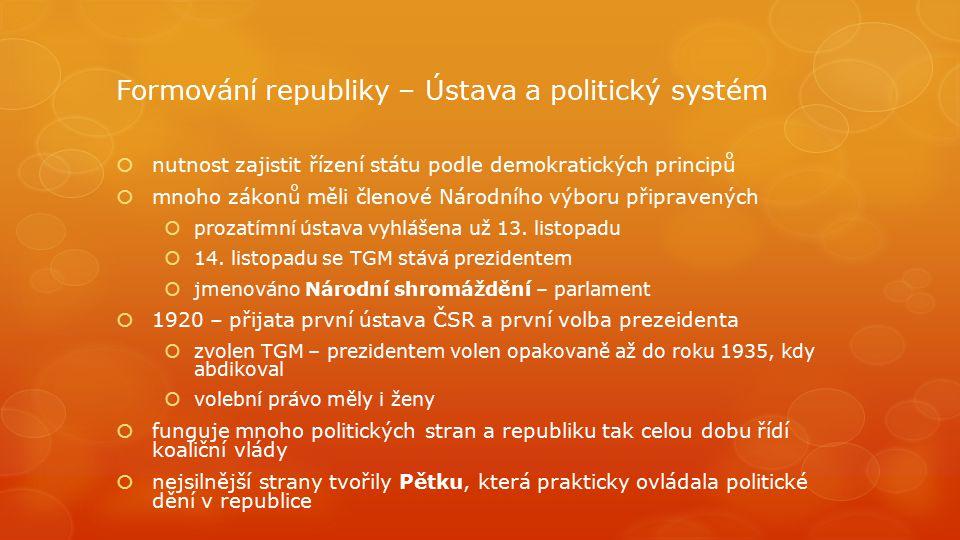 Formování republiky – Ústava a politický systém  nutnost zajistit řízení státu podle demokratických principů  mnoho zákonů měli členové Národního vý
