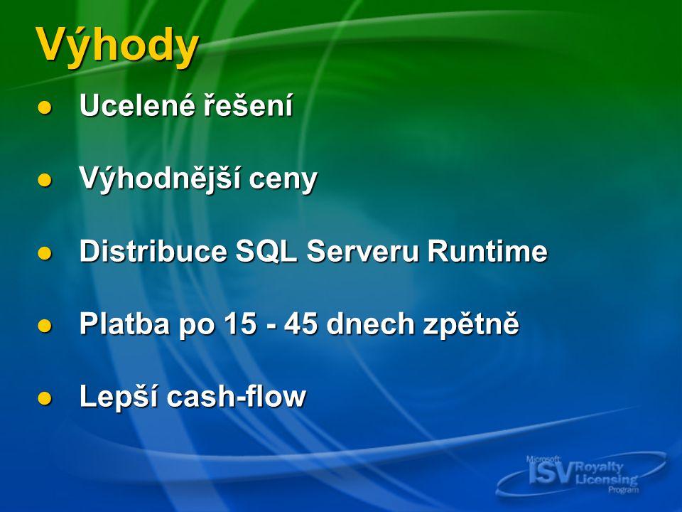 Výhody Ucelené řešení Ucelené řešení Výhodnější ceny Výhodnější ceny Distribuce SQL Serveru Runtime Distribuce SQL Serveru Runtime Platba po 15 - 45 dnech zpětně Platba po 15 - 45 dnech zpětně Lepší cash-flow Lepší cash-flow