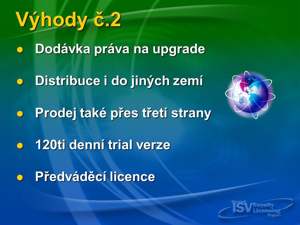 Výhody č.2 Dodávka práva na upgrade Dodávka práva na upgrade Distribuce i do jiných zemí Distribuce i do jiných zemí Prodej také přes třetí strany Prodej také přes třetí strany 120ti denní trial verze 120ti denní trial verze Předváděcí licence Předváděcí licence