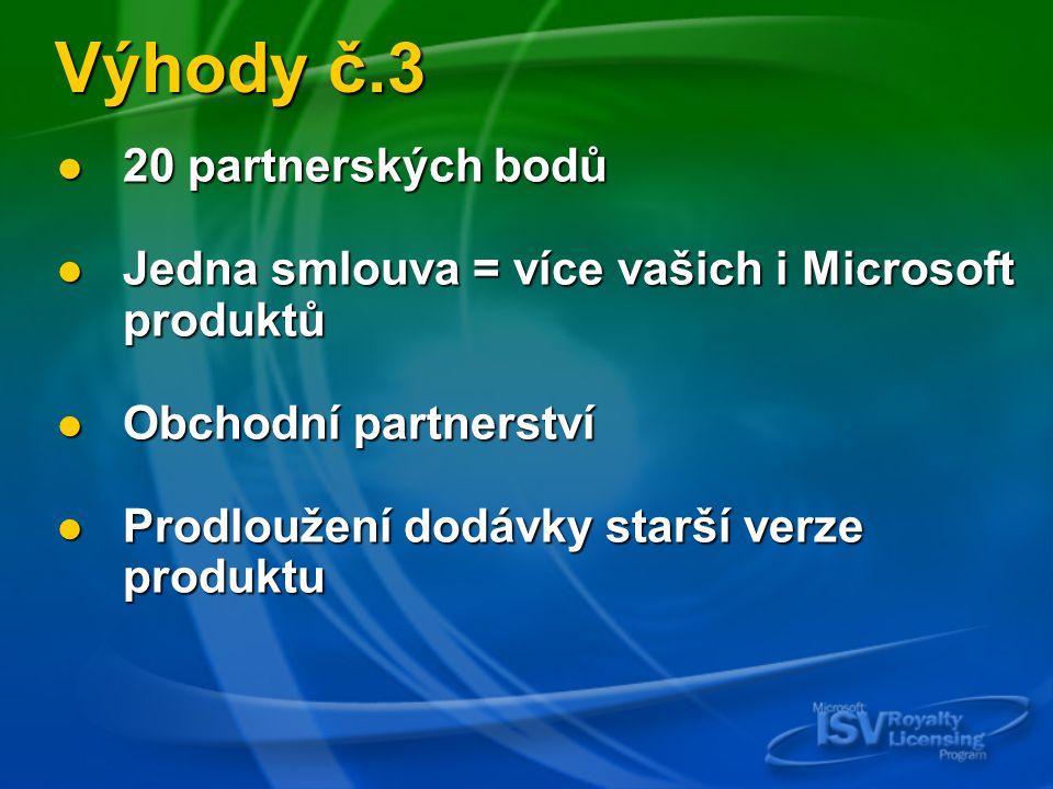 Výhody č.3 20 partnerských bodů 20 partnerských bodů Jedna smlouva = více vašich i Microsoft produktů Jedna smlouva = více vašich i Microsoft produktů Obchodní partnerství Obchodní partnerství Prodloužení dodávky starší verze produktu Prodloužení dodávky starší verze produktu