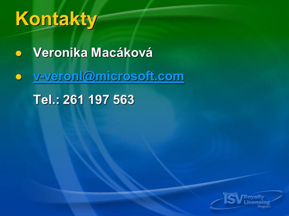 Kontakty Veronika Macáková Veronika Macáková v-veronl@microsoft.com v-veronl@microsoft.com v-veronl@microsoft.com v-veronl@microsoft.com Tel.: 261 197 563