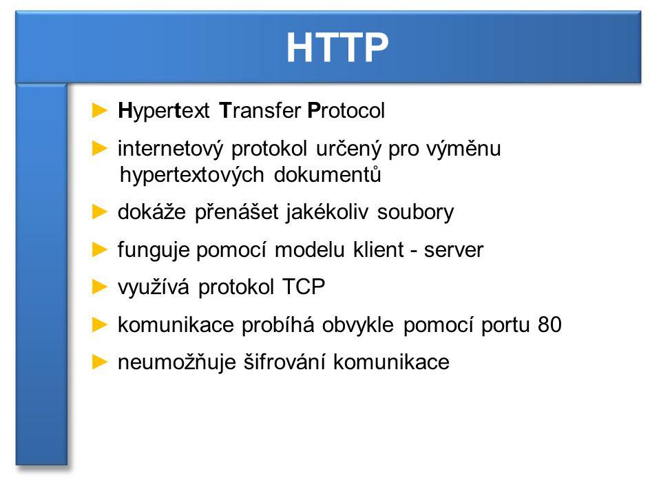 ► Hypertext Transfer Protocol ► internetový protokol určený pro výměnu hypertextových dokumentů ► dokáže přenášet jakékoliv soubory ► funguje pomocí modelu klient - server ► využívá protokol TCP ► komunikace probíhá obvykle pomocí portu 80 ► neumožňuje šifrování komunikace HTTP