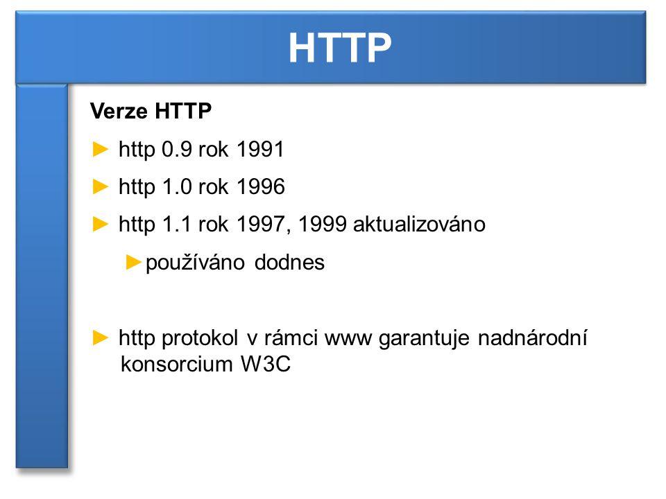 Verze HTTP ► http 0.9 rok 1991 ► http 1.0 rok 1996 ► http 1.1 rok 1997, 1999 aktualizováno ►používáno dodnes ► http protokol v rámci www garantuje nadnárodní konsorcium W3C HTTP