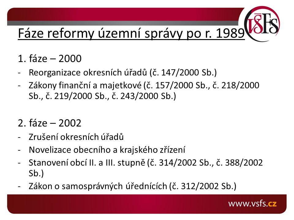 Fáze reformy územní správy po r.1989 1. fáze – 2000 -Reorganizace okresních úřadů (č.