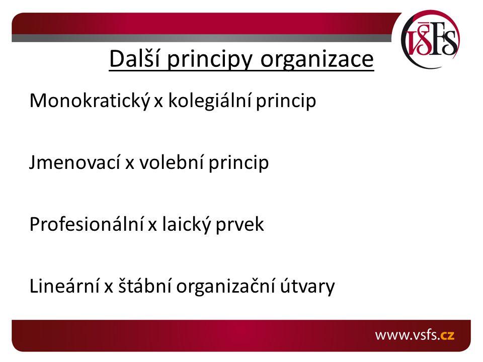 Další principy organizace Monokratický x kolegiální princip Jmenovací x volební princip Profesionální x laický prvek Lineární x štábní organizační útvary