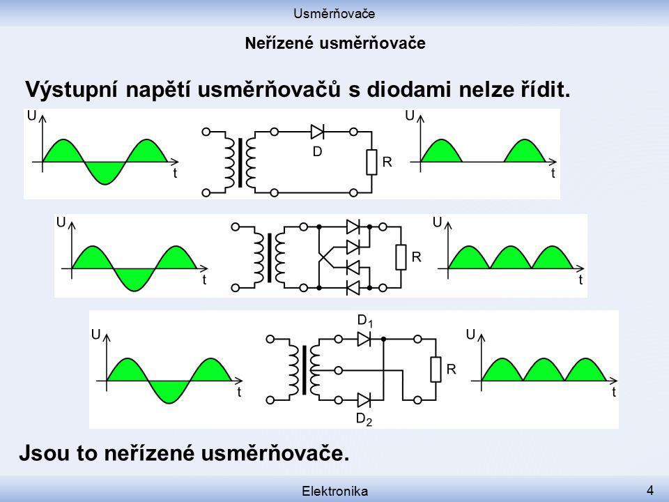 Usměrňovače Elektronika 4 Výstupní napětí usměrňovačů s diodami nelze řídit. Jsou to neřízené usměrňovače.