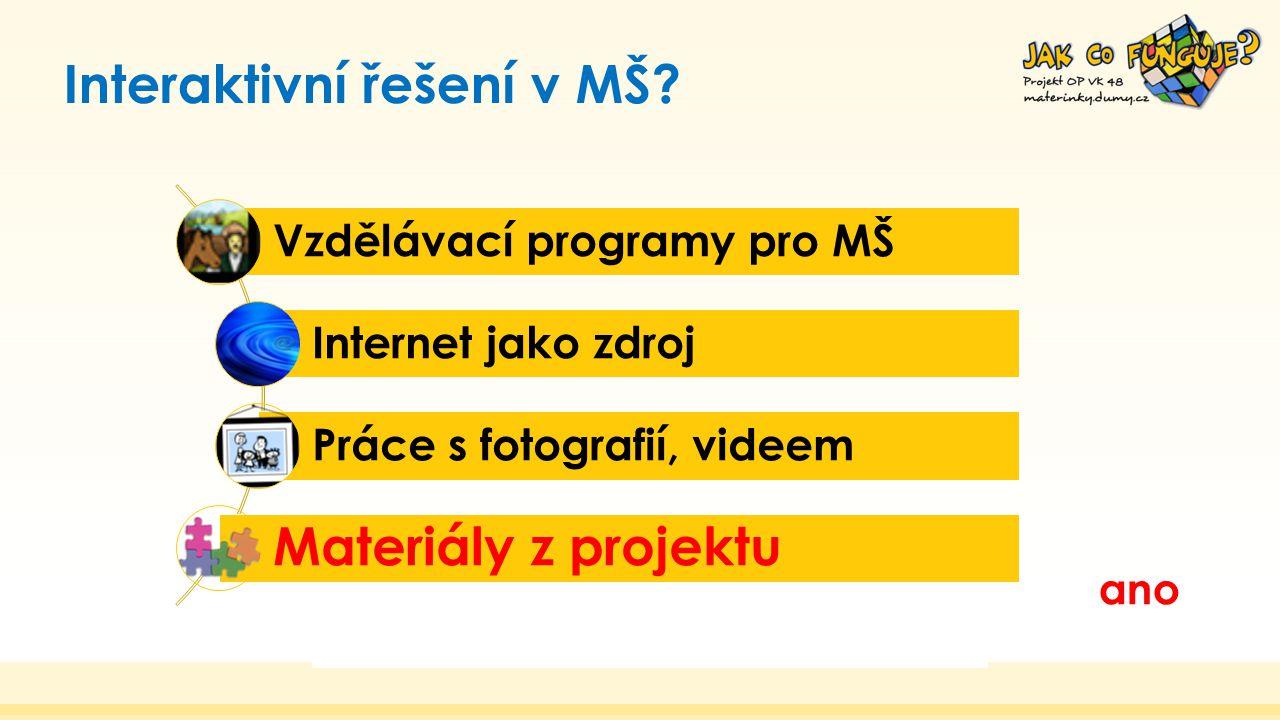Interaktivní řešení v MŠ? Vzdělávací programy pro MŠ Internet jako zdroj Práce s fotografií, videem Materiály z projektu ano