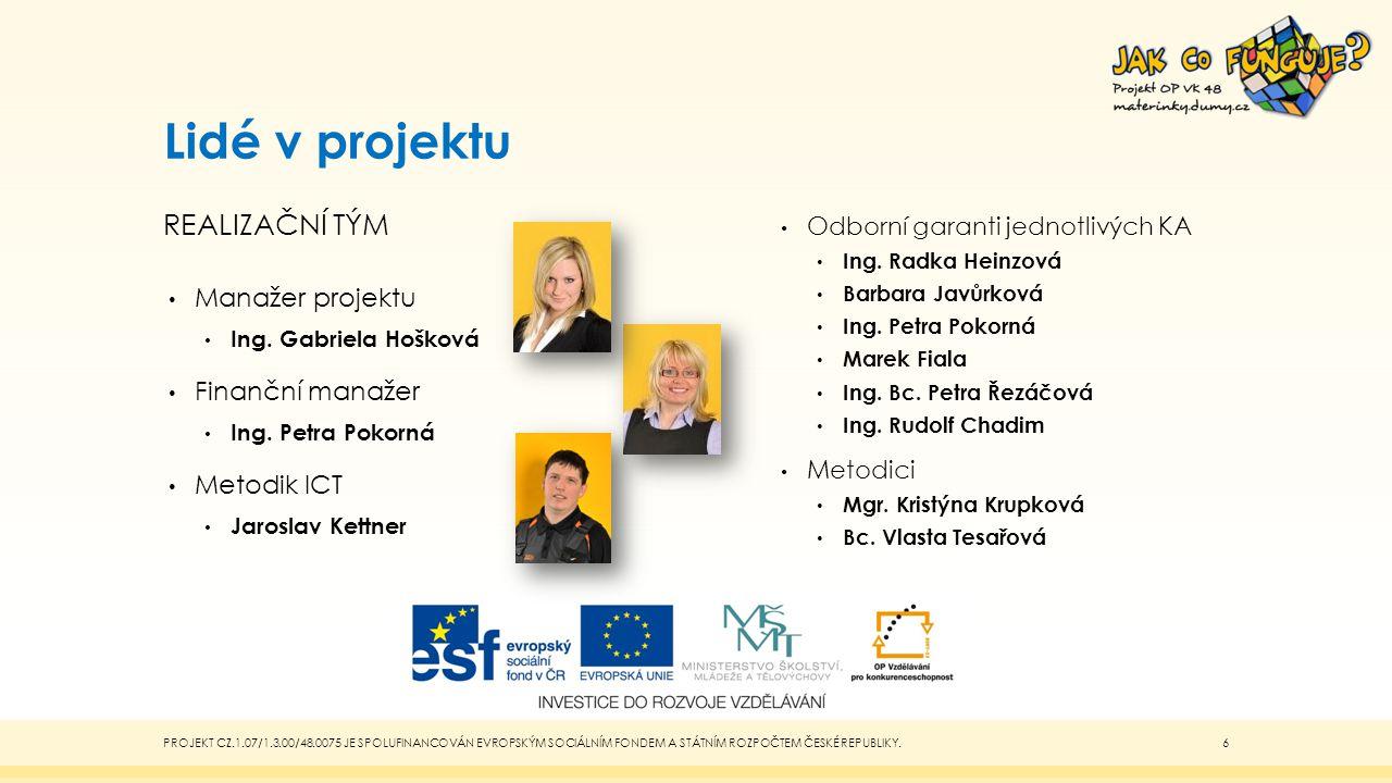 Lidé v projektu REALIZAČNÍ TÝM Manažer projektu Ing.
