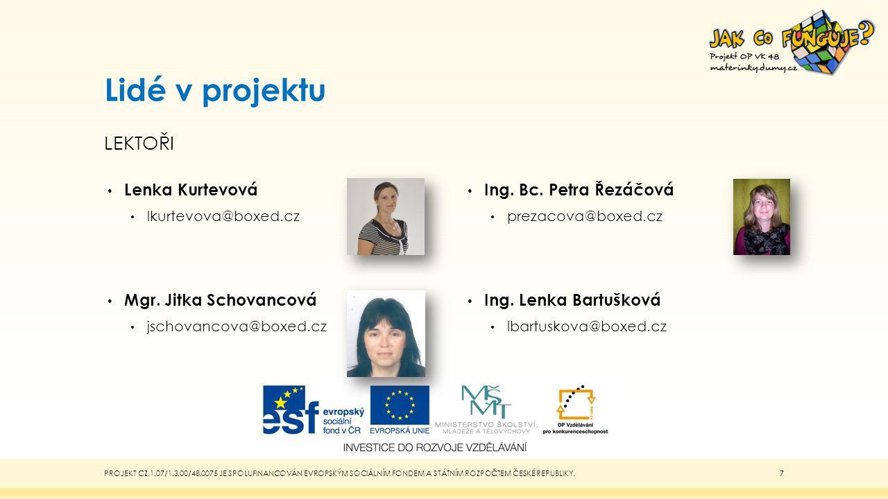 Lidé v projektu LEKTOŘI Lenka Kurtevová lkurtevova@boxed.cz Mgr.