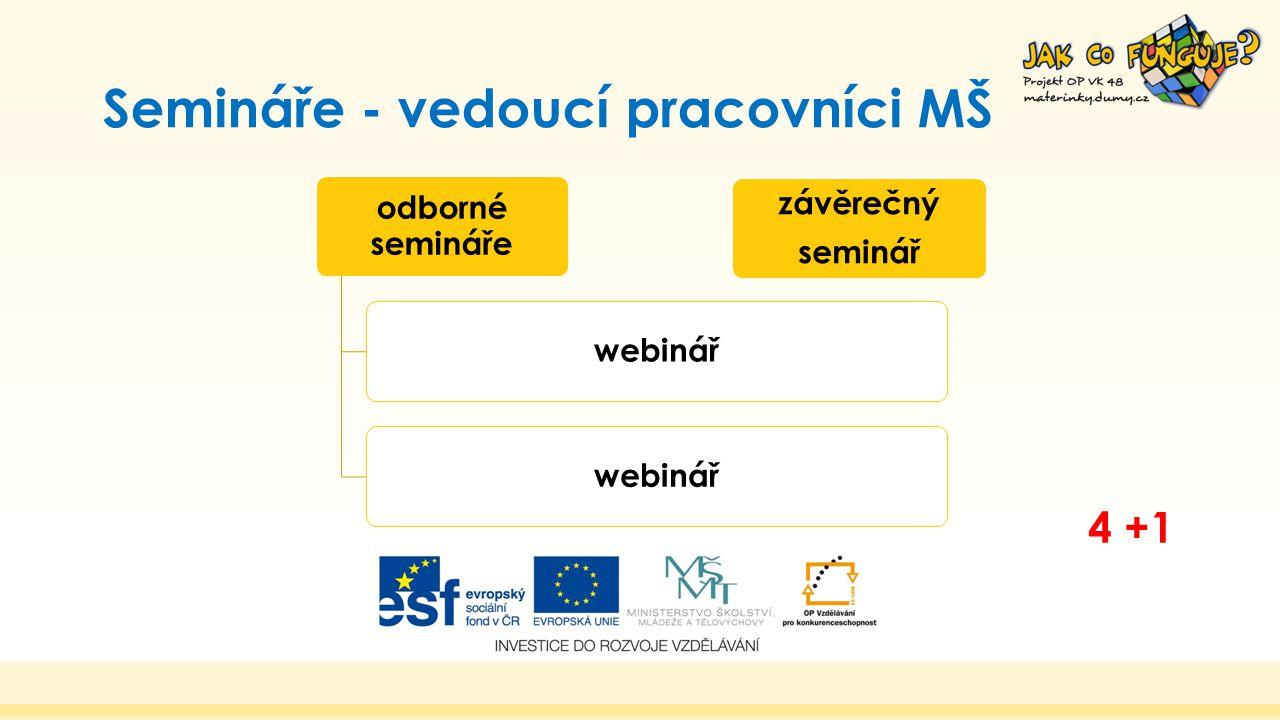 Semináře - vedoucí pracovníci MŠ odborné semináře webinář závěrečný seminář 4 +1