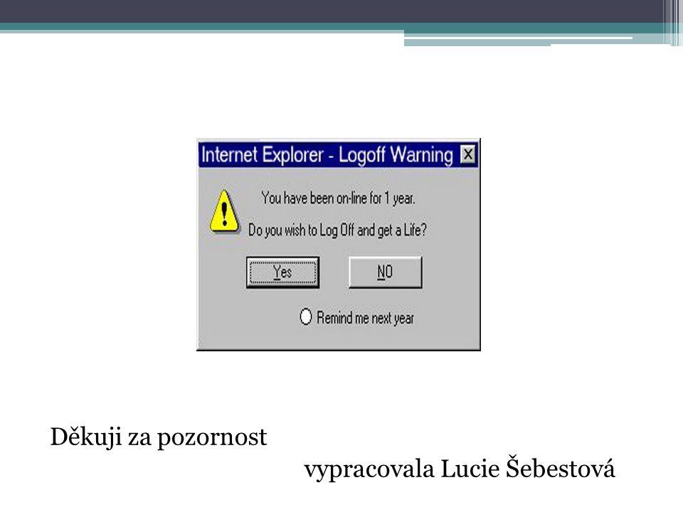 Děkuji za pozornost vypracovala Lucie Šebestová
