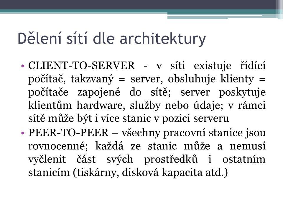 Dělení sítí dle architektury CLIENT-TO-SERVER - v síti existuje řídící počítač, takzvaný = server, obsluhuje klienty = počítače zapojené do sítě; server poskytuje klientům hardware, služby nebo údaje; v rámci sítě může být i více stanic v pozici serveru PEER-TO-PEER – všechny pracovní stanice jsou rovnocenné; každá ze stanic může a nemusí vyčlenit část svých prostředků i ostatním stanicím (tiskárny, disková kapacita atd.)