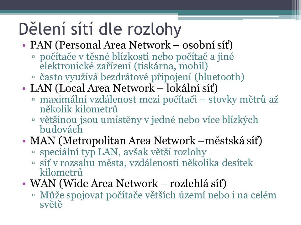 Dělení sítí dle rozlohy PAN (Personal Area Network – osobní síť) ▫počítače v těsné blízkosti nebo počítač a jiné elektronické zařízení (tiskárna, mobil) ▫často využívá bezdrátové připojení (bluetooth) LAN (Local Area Network – lokální síť) ▫maximální vzdálenost mezi počítači – stovky mětrů až několik kilometrů ▫většinou jsou umístěny v jedné nebo více blízkých budovách MAN (Metropolitan Area Network –městská síť) ▫speciální typ LAN, avšak větší rozlohy ▫síť v rozsahu města, vzdálenosti několika desítek kilometrů WAN (Wide Area Network – rozlehlá síť) ▫Může spojovat počítače větších území nebo i na celém světě