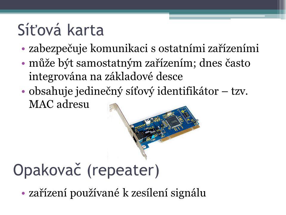 Síťová karta zabezpečuje komunikaci s ostatními zařízeními může být samostatným zařízením; dnes často integrována na základové desce obsahuje jedinečn