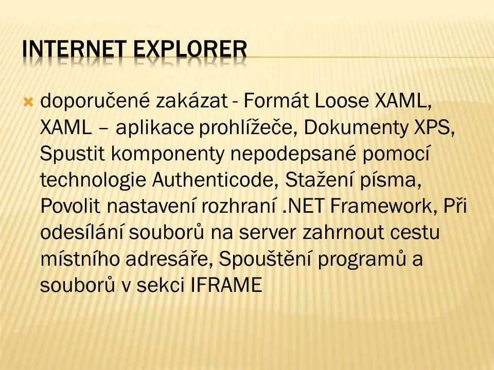  doporučené zakázat - Formát Loose XAML, XAML – aplikace prohlížeče, Dokumenty XPS, Spustit komponenty nepodepsané pomocí technologie Authenticode, Stažení písma, Povolit nastavení rozhraní.NET Framework, Při odesílání souborů na server zahrnout cestu místního adresáře, Spouštění programů a souborů v sekci IFRAME