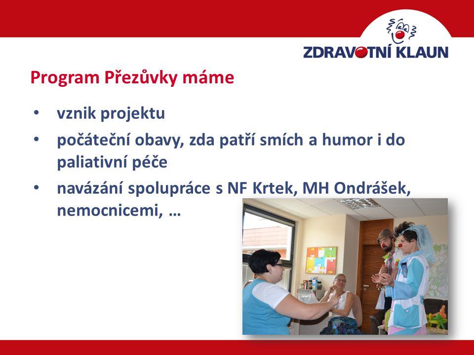 10 vznik projektu počáteční obavy, zda patří smích a humor i do paliativní péče navázání spolupráce s NF Krtek, MH Ondrášek, nemocnicemi, … Program Přezůvky máme
