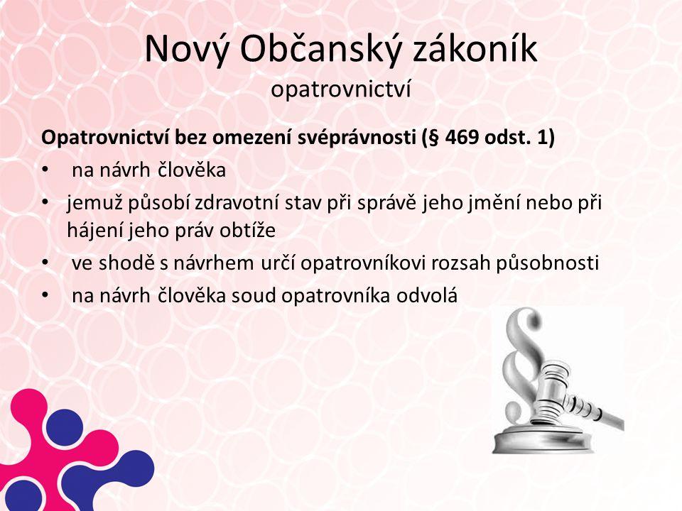 Nový Občanský zákoník opatrovnictví Opatrovnictví bez omezení svéprávnosti (§ 469 odst.