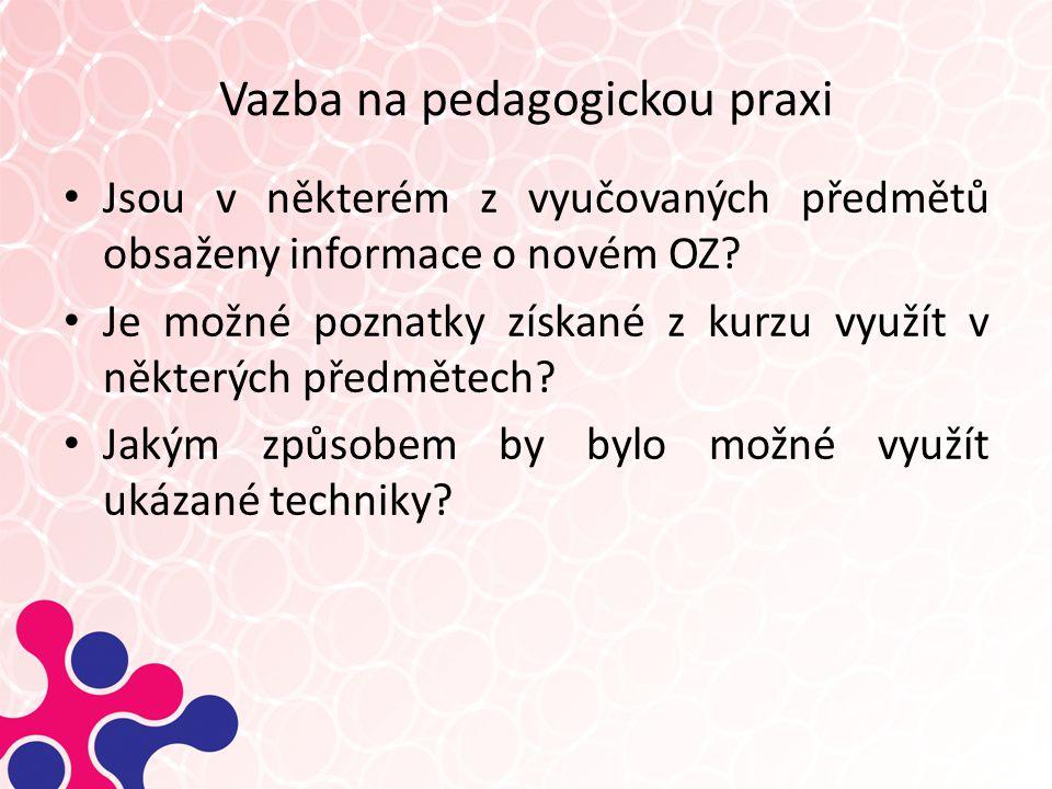 Vazba na pedagogickou praxi Jsou v některém z vyučovaných předmětů obsaženy informace o novém OZ.