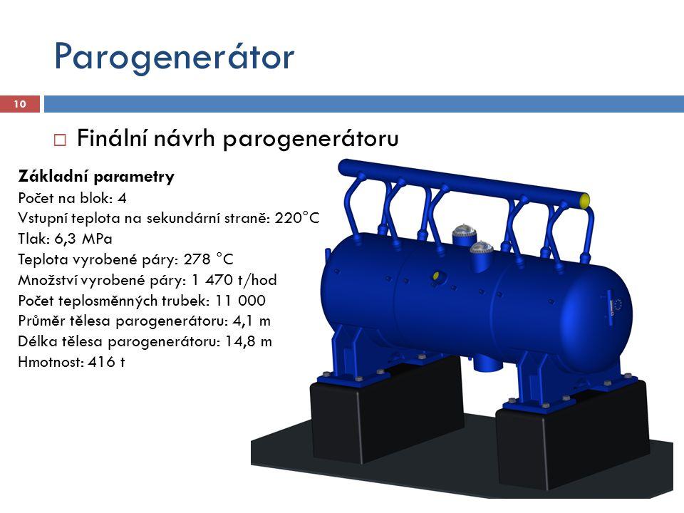 Parogenerátor  Finální návrh parogenerátoru 10 Základní parametry Počet na blok: 4 Vstupní teplota na sekundární straně: 220°C Tlak: 6,3 MPa Teplota