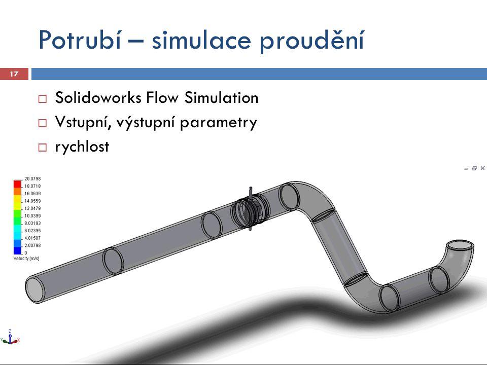 Potrubí – simulace proudění 17  Solidoworks Flow Simulation  Vstupní, výstupní parametry  rychlost