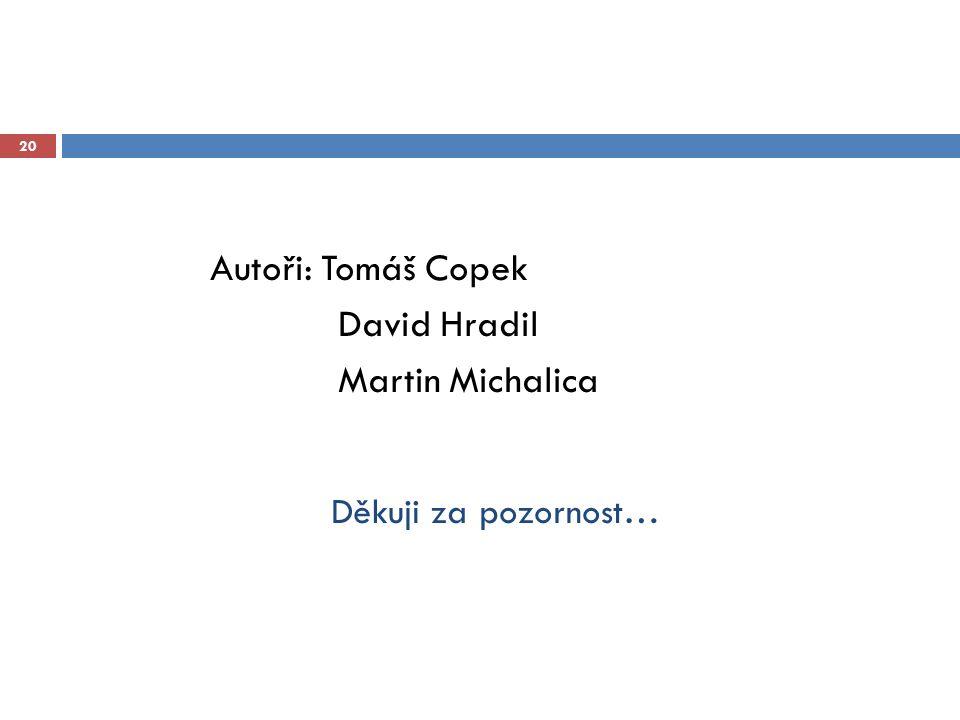 Děkuji za pozornost… 20 Autoři: Tomáš Copek David Hradil Martin Michalica