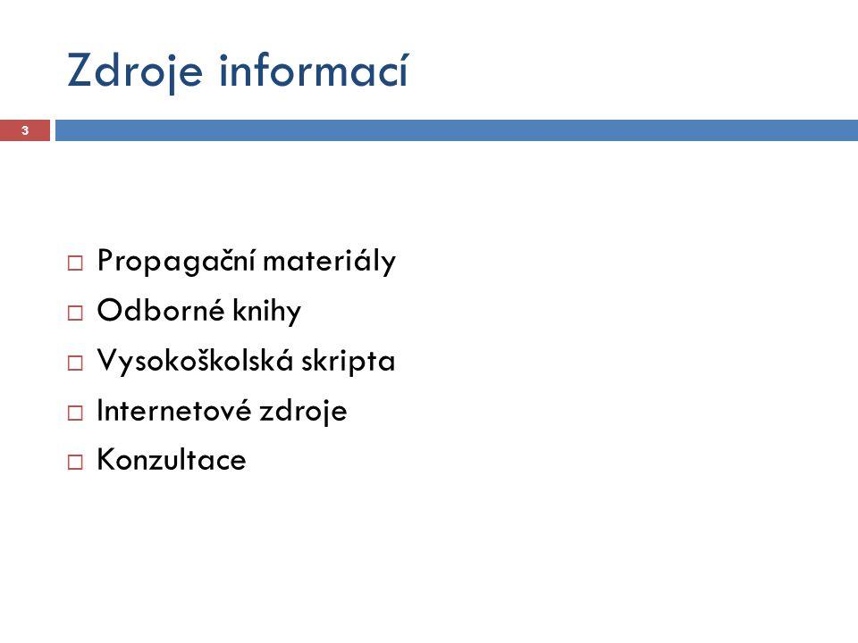 Zdroje informací  Propagační materiály  Odborné knihy  Vysokoškolská skripta  Internetové zdroje  Konzultace 3