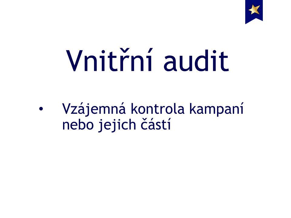 Vnitřní audit Vzájemná kontrola kampaní nebo jejich částí