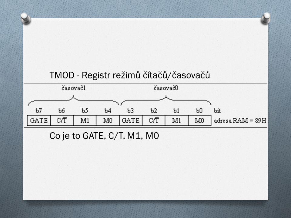 TMOD - Registr režimů čítačů/časovačů Co je to GATE, C/T, M1, M0