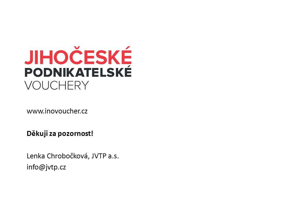 www.inovoucher.cz Děkuji za pozornost! Lenka Chrobočková, JVTP a.s. info@jvtp.cz
