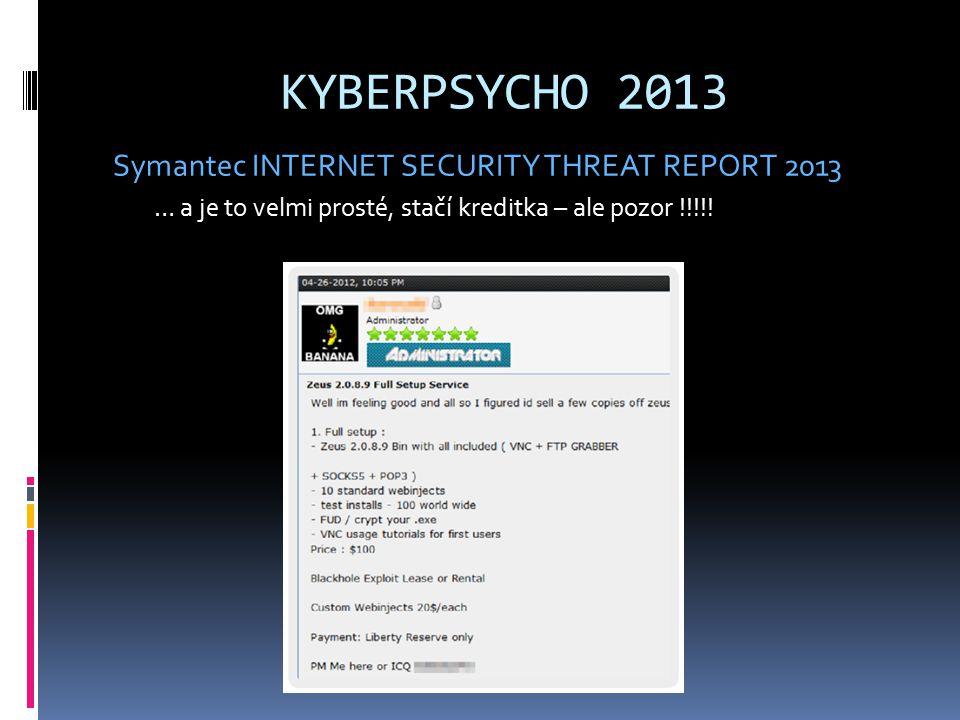 KYBERPSYCHO 2013 Symantec INTERNET SECURITY THREAT REPORT 2013 … a je to velmi prosté, stačí kreditka – ale pozor !!!!!