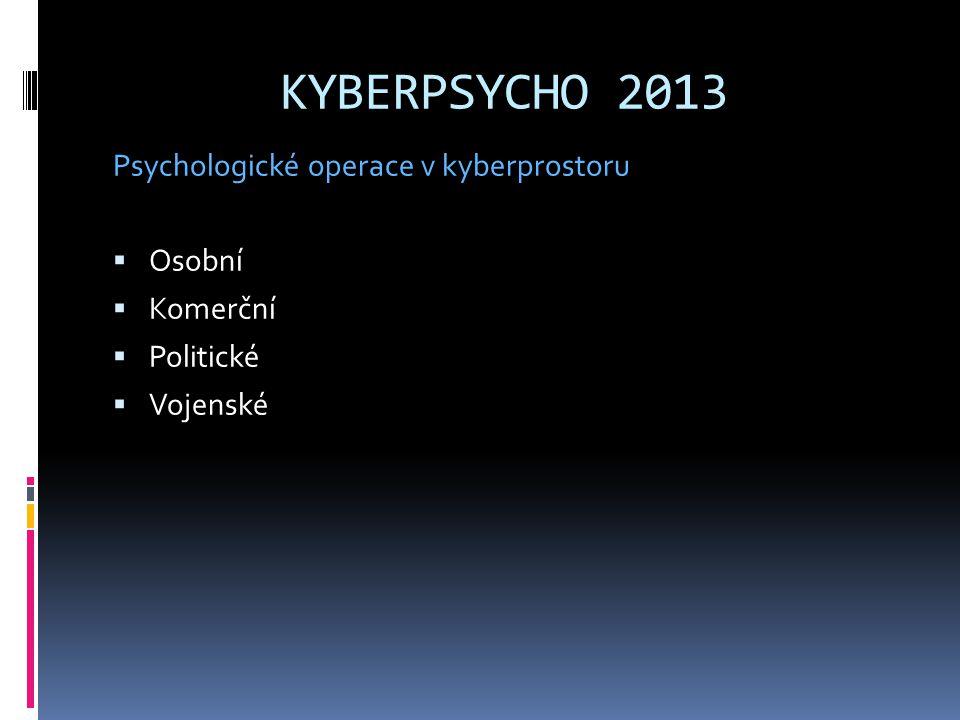 KYBERPSYCHO 2013 Psychologické operace v kyberprostoru  Osobní  Komerční  Politické  Vojenské