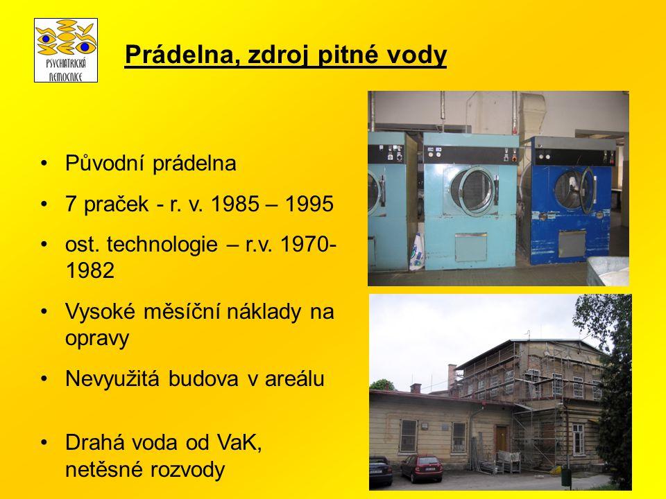 Původní prádelna 7 praček - r. v. 1985 – 1995 ost. technologie – r.v. 1970- 1982 Vysoké měsíční náklady na opravy Nevyužitá budova v areálu Drahá voda