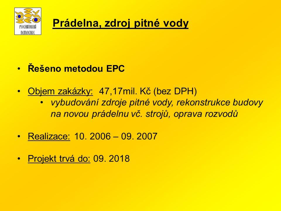 Řešeno metodou EPC Objem zakázky: 47,17mil. Kč (bez DPH) vybudování zdroje pitné vody, rekonstrukce budovy na novou prádelnu vč. strojů, oprava rozvod