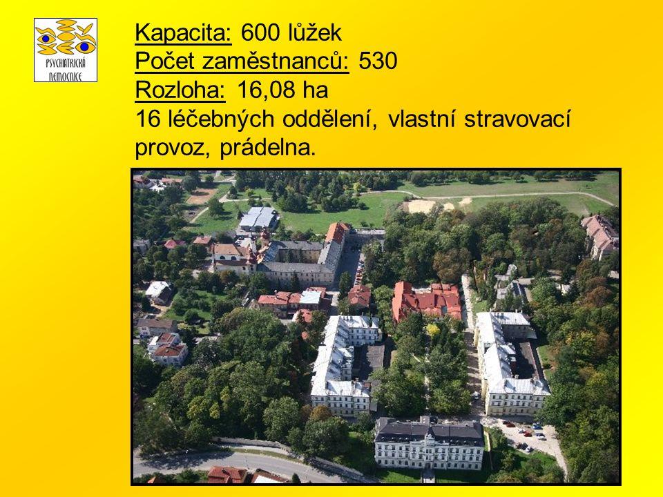 Kapacita: 600 lůžek Počet zaměstnanců: 530 Rozloha: 16,08 ha 16 léčebných oddělení, vlastní stravovací provoz, prádelna.