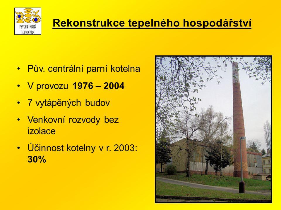 Pův. centrální parní kotelna V provozu 1976 – 2004 7 vytápěných budov Venkovní rozvody bez izolace Účinnost kotelny v r. 2003: 30% Rekonstrukce tepeln