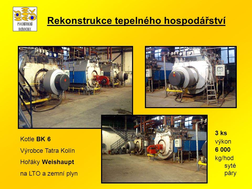 Kotle BK 6 Výrobce Tatra Kolín Hořáky Weishaupt na LTO a zemní plyn 3 ks výkon 6 000 kg/hod syté páry Rekonstrukce tepelného hospodářství