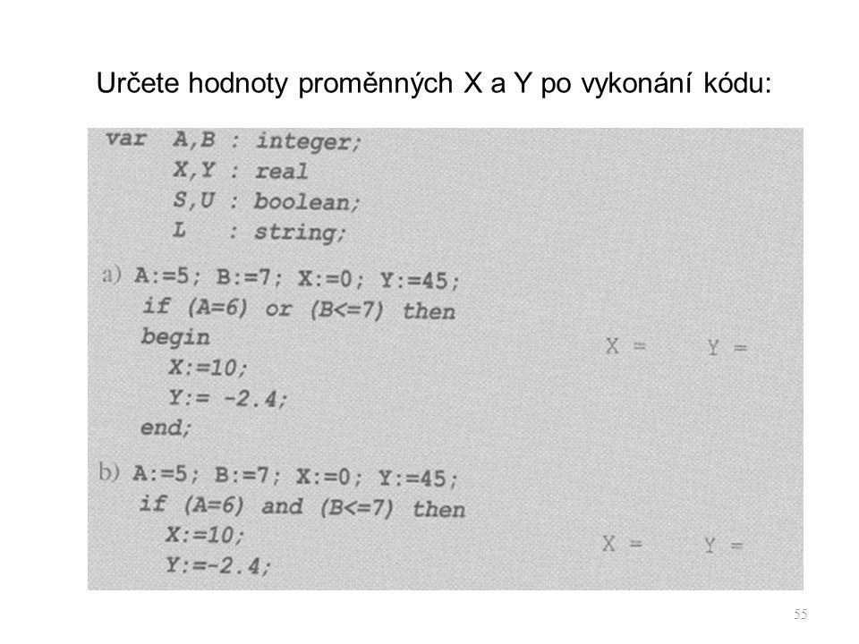 Určete hodnoty proměnných X a Y po vykonání kódu: 55