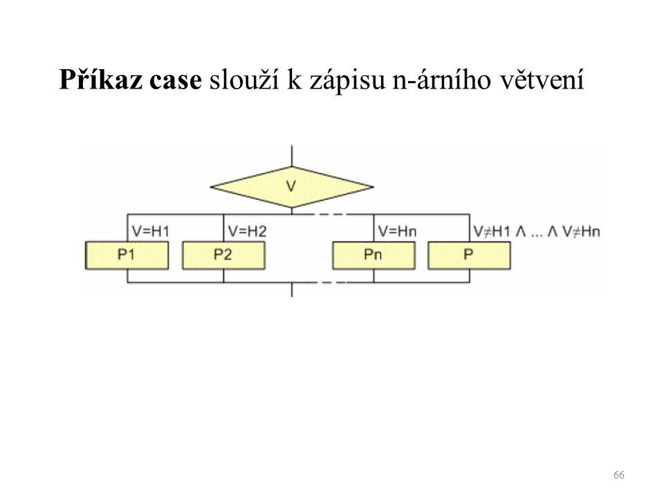 Příkaz case slouží k zápisu n-árního větvení 66