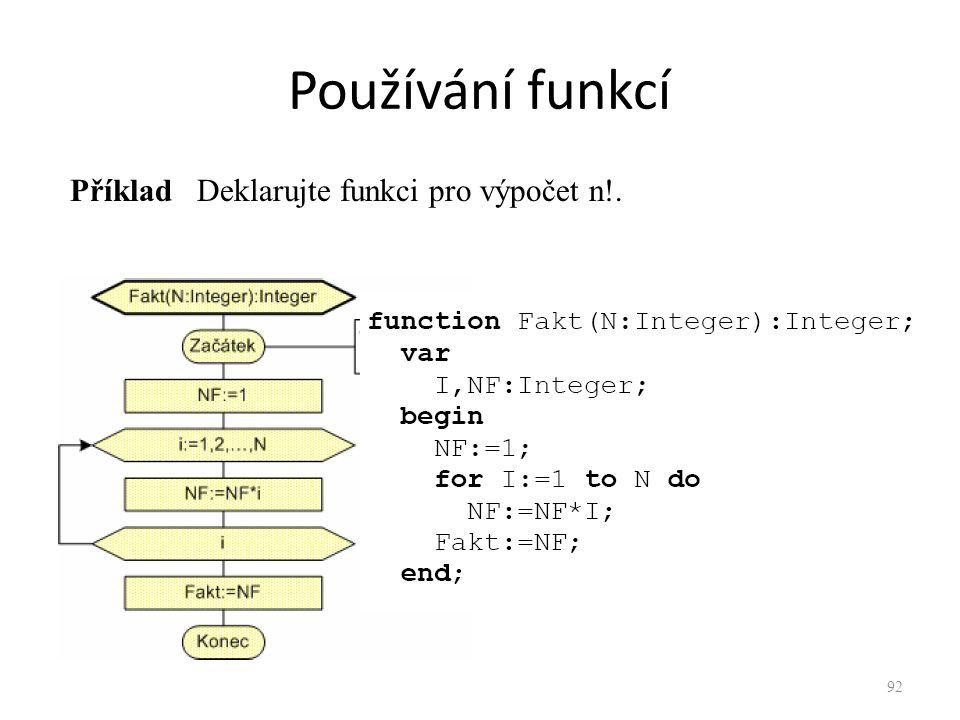 Používání funkcí Příklad Deklarujte funkci pro výpočet n!. 92