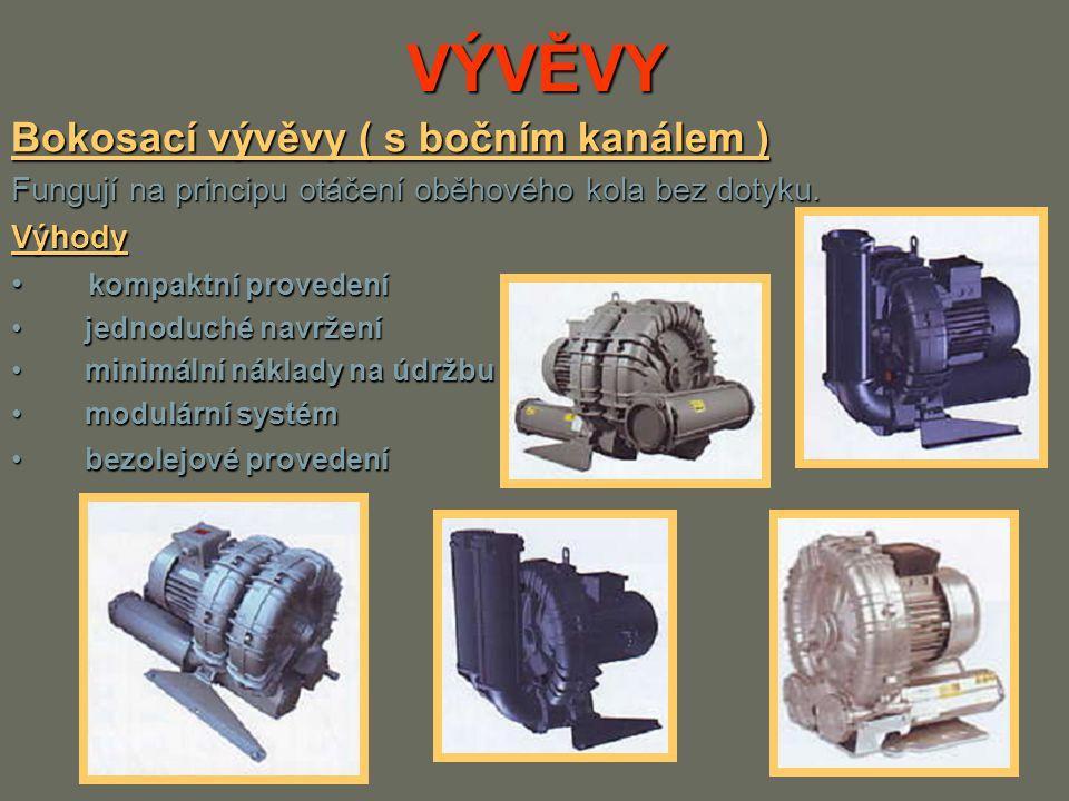 VÝVĚVY Bokosací vývěvy ( s bočním kanálem ) Fungují na principu otáčení oběhového kola bez dotyku. Výhody kompaktní provedení kompaktní provedení jedn